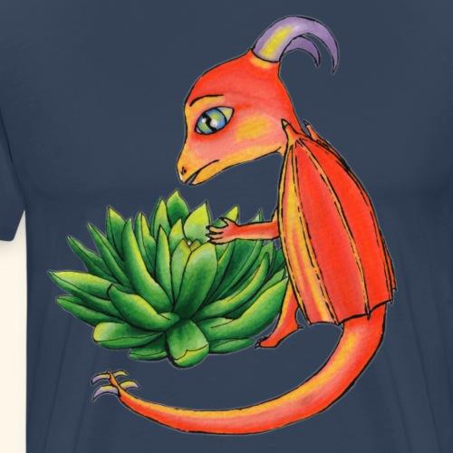 Drake med succulent - Premium-T-shirt herr