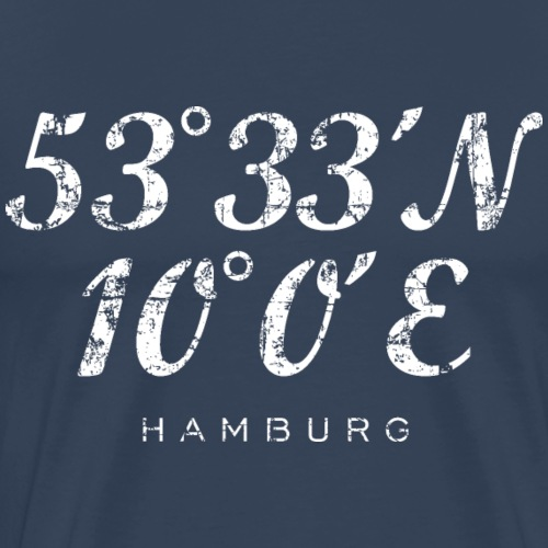 Hamburger Koordinaten (Vintage/Weiß) Hamburg - Männer Premium T-Shirt