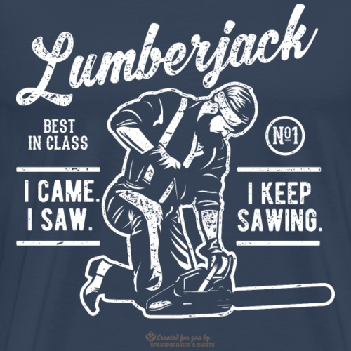 Holzfäller Design Lumberjack mit Kettensäge - Männer Premium T-Shirt