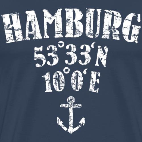 Hamburg Koordinaten Segeln Segler - Männer Premium T-Shirt