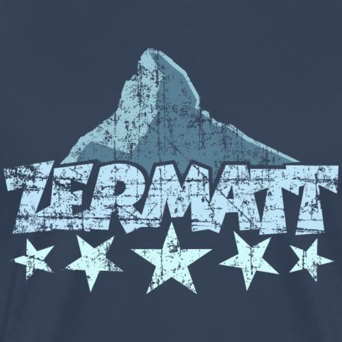 Zermatt Matterhorn 5 Sterne (Vintage Hell) - Männer Premium T-Shirt