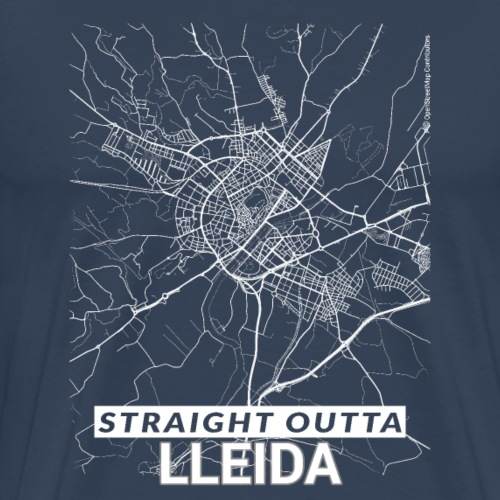 Straight Outta Lleida city map and streets - Men's Premium T-Shirt