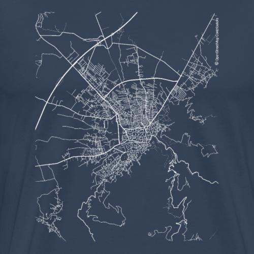 Minimal Prizren city map and streets - Men's Premium T-Shirt