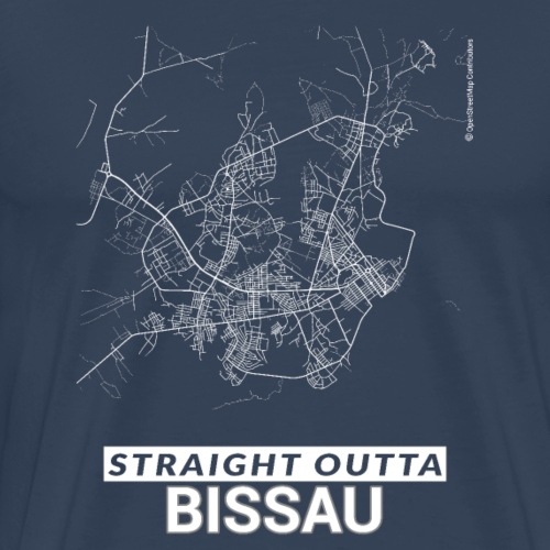 Straight Outta Bissau city map and streets - Men's Premium T-Shirt