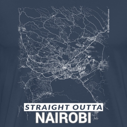 Straight Outta Nairobi city map and streets - Men's Premium T-Shirt