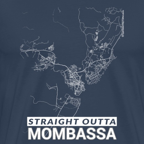 Straight Outta Mombasa city map and streets - Men's Premium T-Shirt