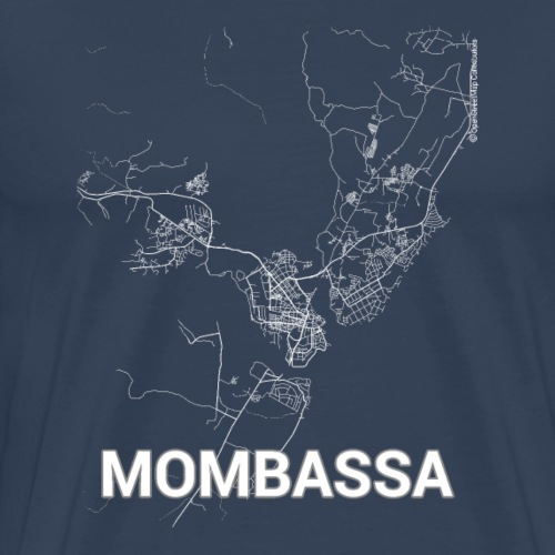 Mombasa city map and streets - Men's Premium T-Shirt