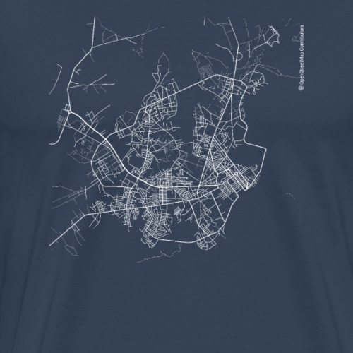 Minimal Bissau city map and streets - Men's Premium T-Shirt