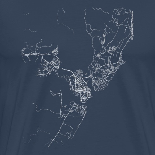 Minimal Mombasa city map and streets - Men's Premium T-Shirt