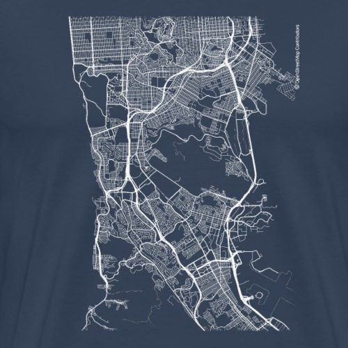 Minimal Daly City city map and streets - Men's Premium T-Shirt