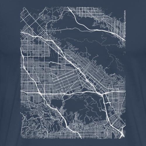 Minimal Burbank city map and streets - Men's Premium T-Shirt