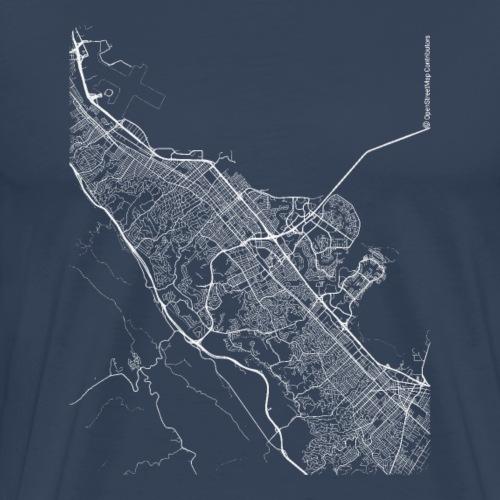 Minimal San Mateo city map and streets - Men's Premium T-Shirt