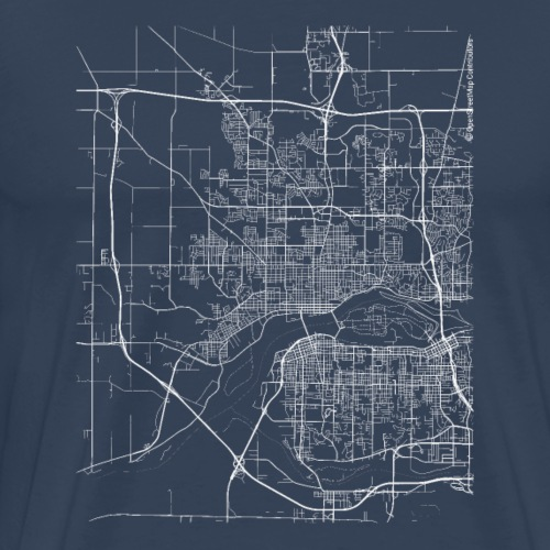 Minimal Davenport city map and streets - Men's Premium T-Shirt