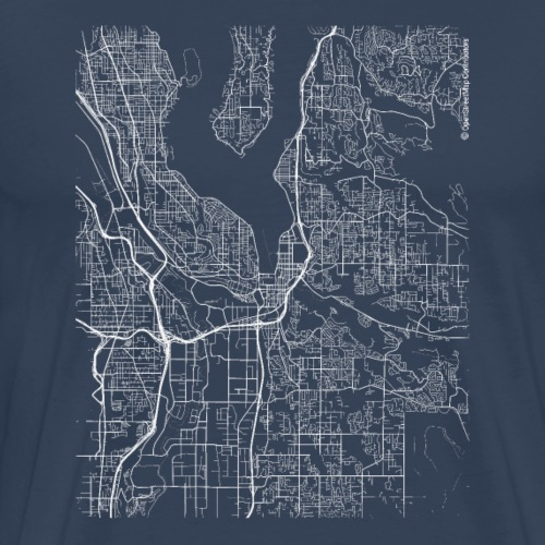 Minimal Renton city map and streets - Men's Premium T-Shirt