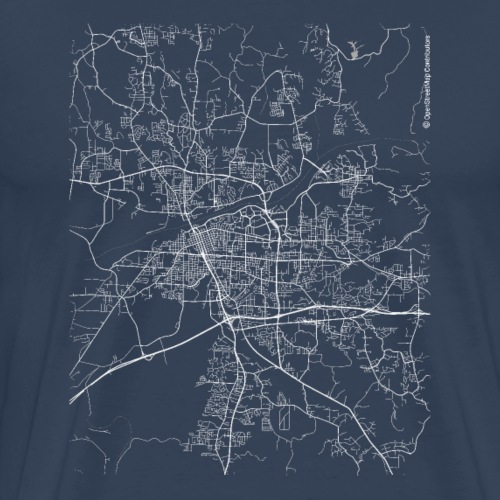 Minimal Tuscaloosa city map and streets - Men's Premium T-Shirt