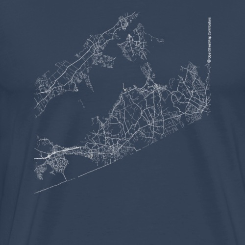 Minimal The Hamptons city map and streets - Men's Premium T-Shirt