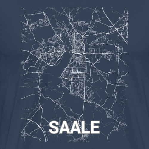 Saale city map and streets - Men's Premium T-Shirt