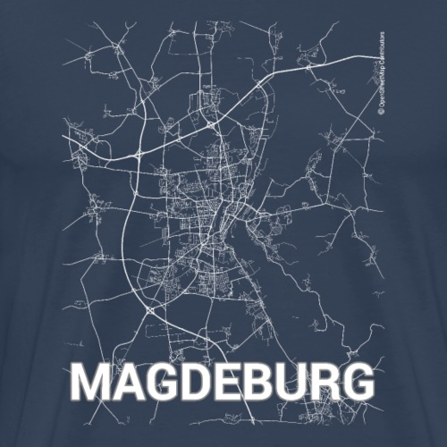 Magdeburg city map and streets - Men's Premium T-Shirt