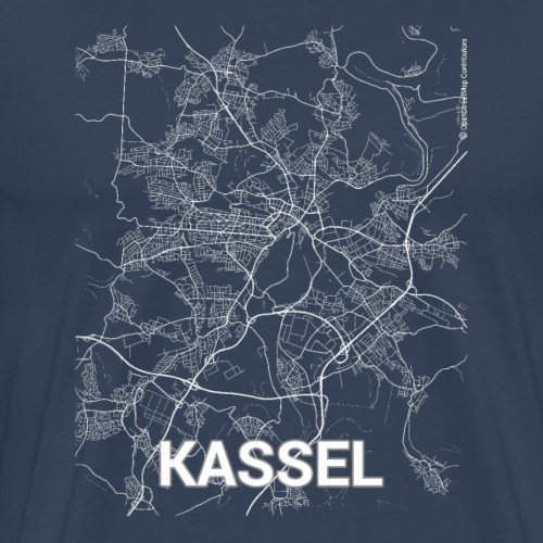 Kassel city map and streets - Men's Premium T-Shirt