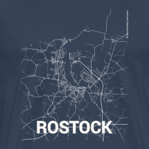 Rostock city map and streets - Men's Premium T-Shirt