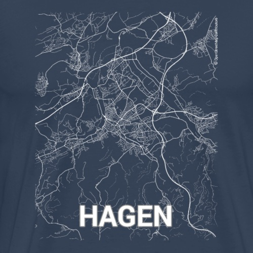 Hagen city map and streets - Men's Premium T-Shirt