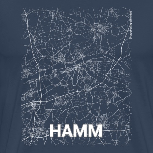 Hamm city map and streets - Men's Premium T-Shirt