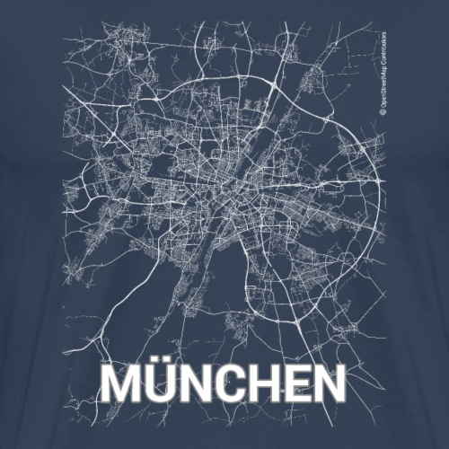 Munich city map and streets - Men's Premium T-Shirt