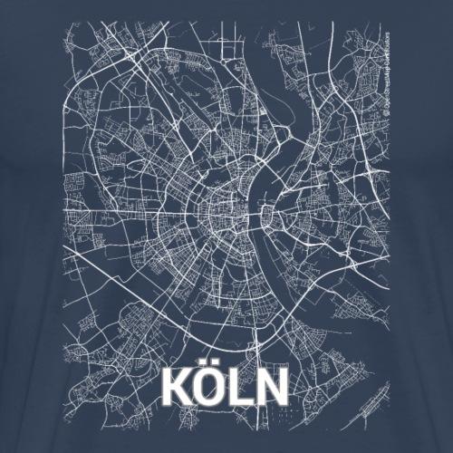 Köln city map and streets - Men's Premium T-Shirt