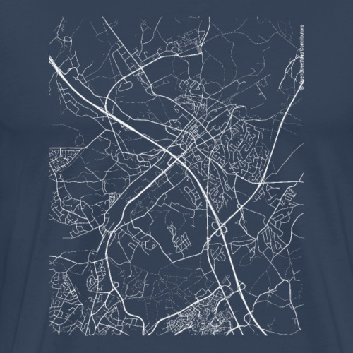 Minimal Wavre city map and streets - Men's Premium T-Shirt