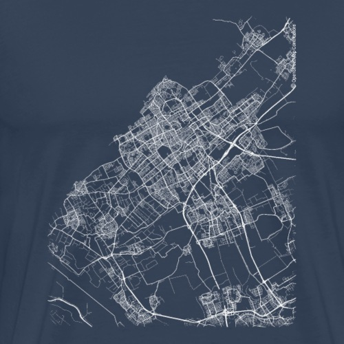 Minimal The Hague city map and streets - Men's Premium T-Shirt