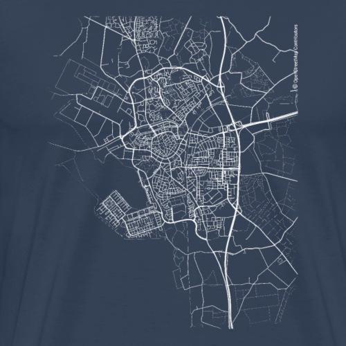 Minimal Bergen op Zoom city map and streets - Men's Premium T-Shirt