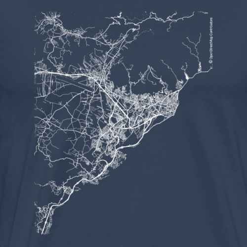 Minimal Santa Cruz city map and streets - Men's Premium T-Shirt