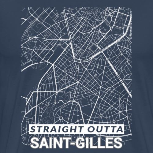 Straight Outta Saint-Gilles city map and streets - Men's Premium T-Shirt