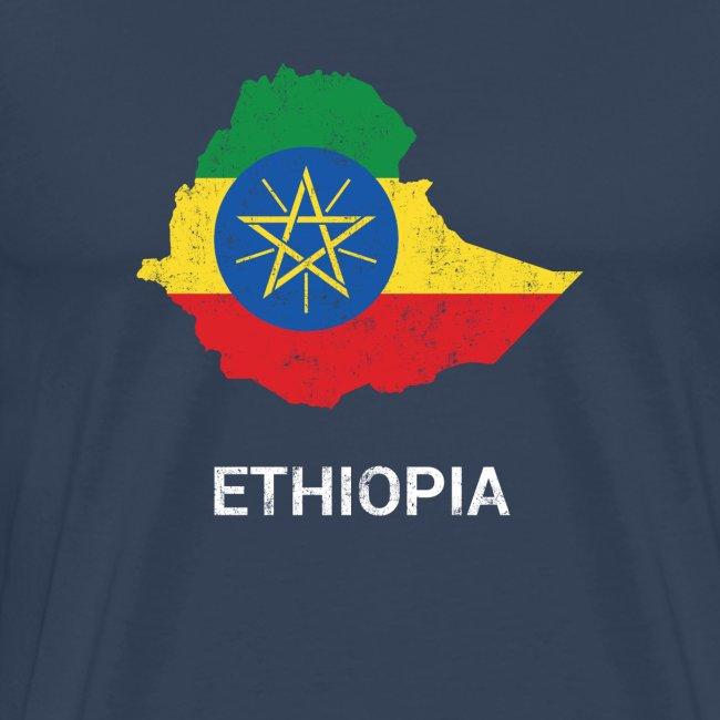 Ethiopia (Ityopia) country map & flag