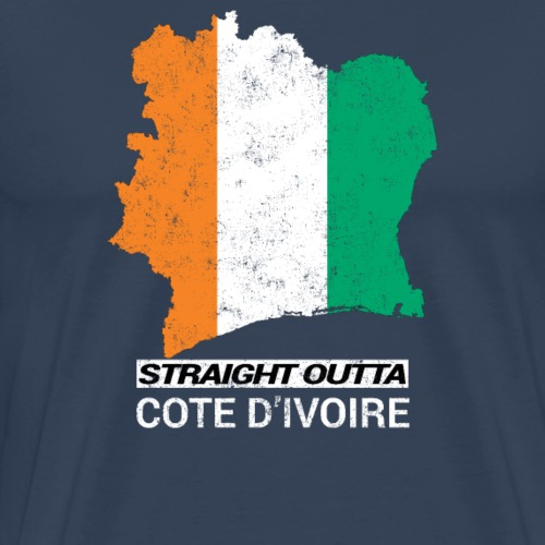 Straight Outta Cote d Ivoire country map & flag - Men's Premium T-Shirt