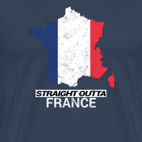 Straight Outta France country map & flag - Men's Premium T-Shirt