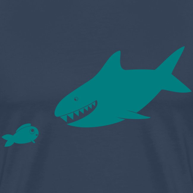 Kleiner Fisch + Hai / dunkler Hintergrund