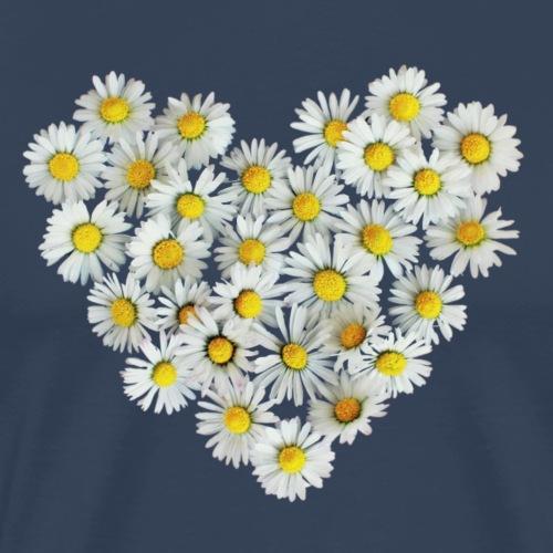 Gänseblümchen Herz Frühling Daisy Blüte Blume - Männer Premium T-Shirt