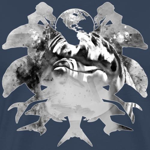 gxp Delfin Spritzer Wasserfarbe schwarz weiß - Männer Premium T-Shirt