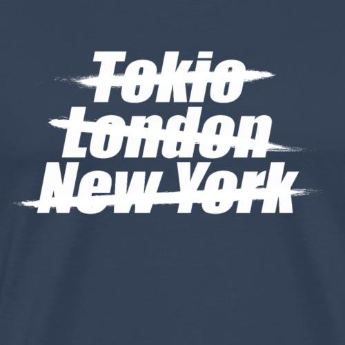 Deine Stadt/ Dein Dorf - personalisierbar weiß - Männer Premium T-Shirt