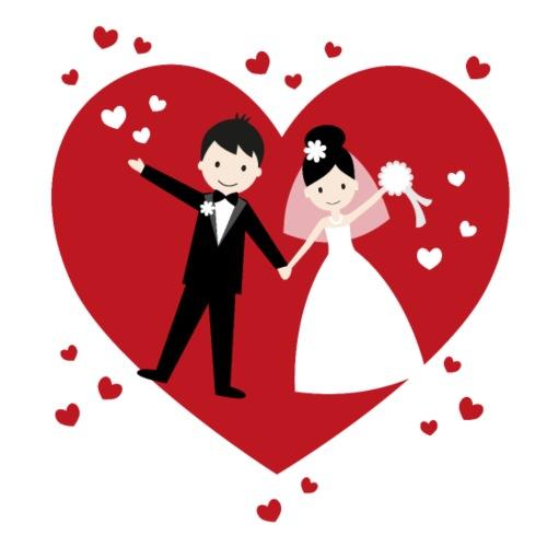 Hochzeitspaar mit vielen Herzen - Rot - Männer Premium T-Shirt