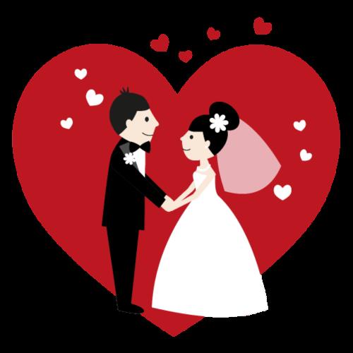 Hochzeitspaar im Comic Stil mit Rotem Herz