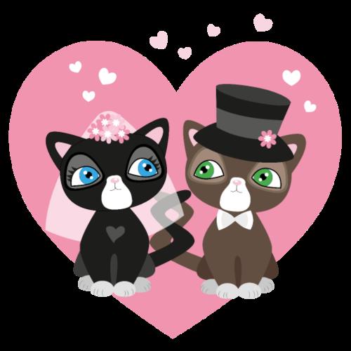 Katzen-Braut und Katzen-Bräutigam - Hochzeitspaar - Männer Premium T-Shirt