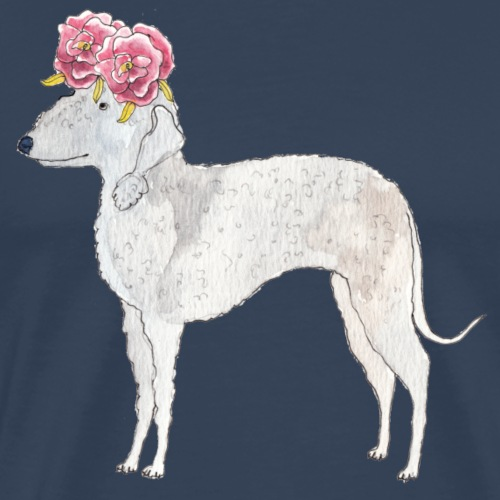 bedlington terrier with roses - Herre premium T-shirt