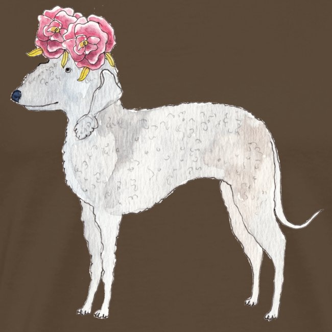 bedlington terrier with roses