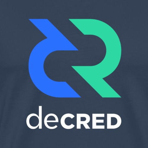 Decred logo vertical color white - Mannen Premium T-shirt