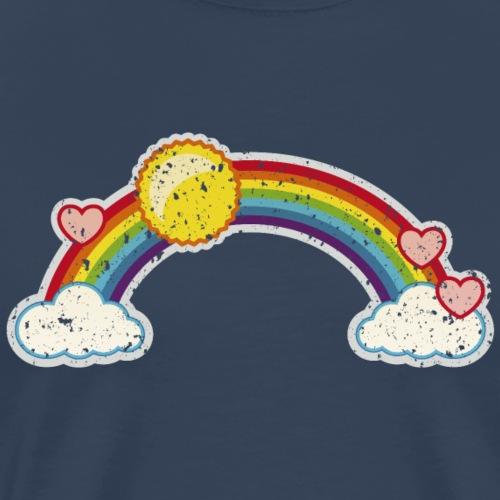 Regenbogen rainbow Wolke 7 Retro Grunge Vintage - Men's Premium T-Shirt
