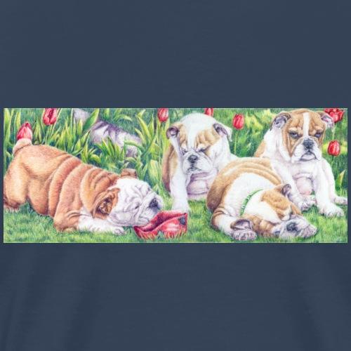 english bulldog pups - Herre premium T-shirt