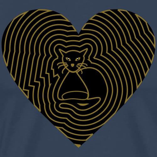Katzen Herz Spirale 2 Färbig - Männer Premium T-Shirt