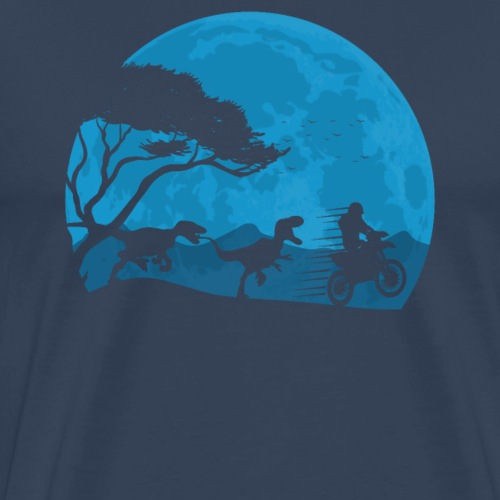 Motorbike And Dino Moonwalk - Männer Premium T-Shirt